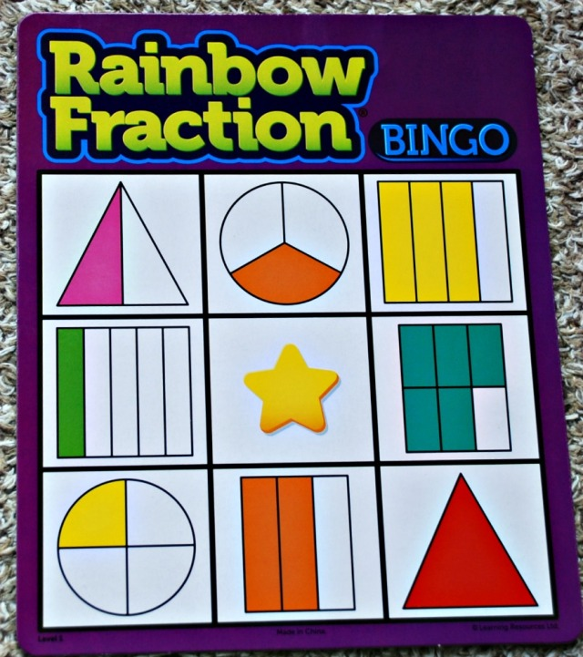 Rainbow Fraction Bingo game Board from Learning Resources. helps kids to practice recognising fractions