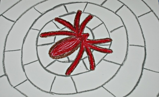 Spider drawing using oil pastels