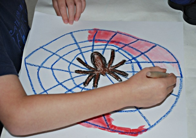Spider picture. Painting over the oil pastels with watercolours. Fun kids art activity