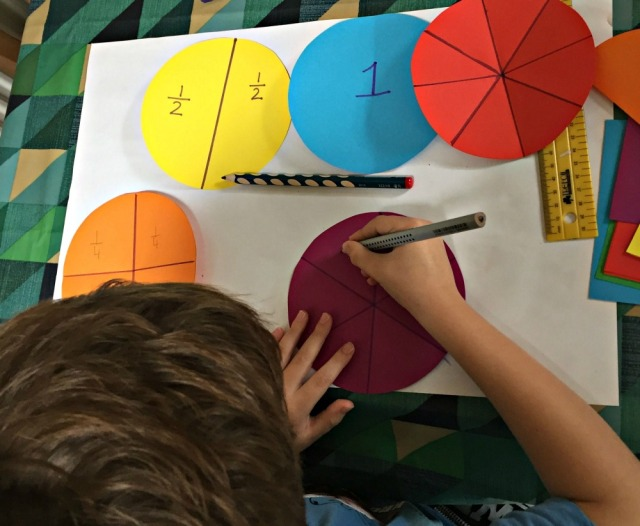 Writing the fractions on each circle