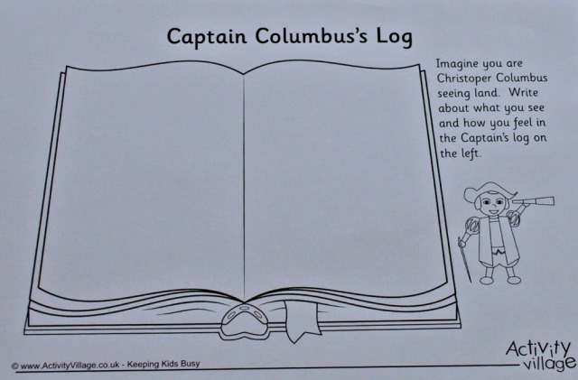 Activity Village's Captain Log activity for Christopher Columbus