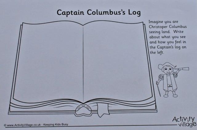 Activity Village's Captain Log activity for Christopher Columbus