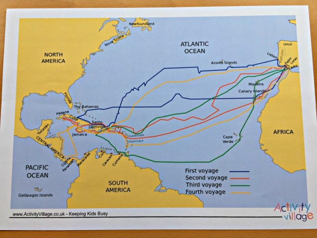 Map showing Christopher Columbus voyages from the Activity Village website