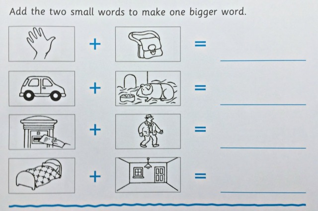 At Home With Spelling 1 Workbook by Oxford Press introduces word sums or basic compound words for key stage 1 ages