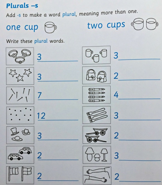 At Home With Spelling 1 Workbook by Oxford University Press includes adding s to words to create plurals