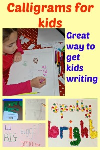 Calligrams.  Fun way to get the kids writing and practicing their spelling.  Idea from the Twinkl eBook Little Acorns