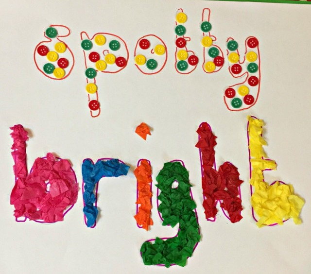 Creating crafty Calligrams after reading the Twinkl eBook Little Acorns