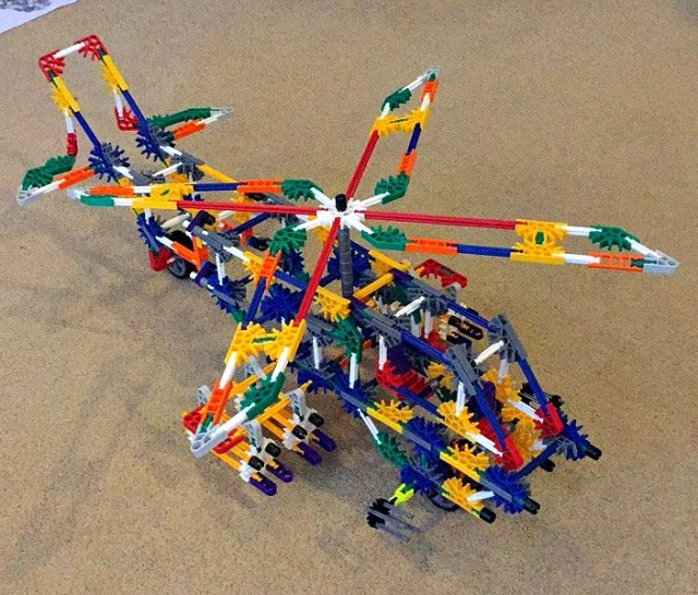 K'Nex helicopter. K'Nex is an amazing STEM resource for kids to play with