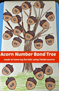Acorn Number Bond Tree made at home by the kids using Twinkl printouts.  Fun Maths activity and perfect for Autumn