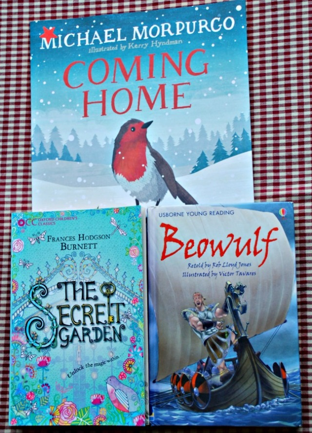 New Books we are enjoying. Coming Home, The Secret Garden and Beowulf