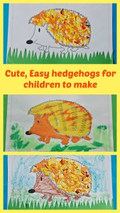 Cute, easy hedgehogs for children to make using a colouring page from Activity Village as the template