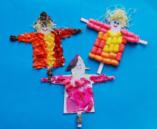 Easy Scarecrow Craft activity inspired by The Scarecrow's Wedding by Julia Donaldson and Axel Scheffer. Made using a template from Activity Village