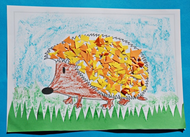 Hedgehog paper craft for children using coloured paper and the Activity Village hedeghog colouring page