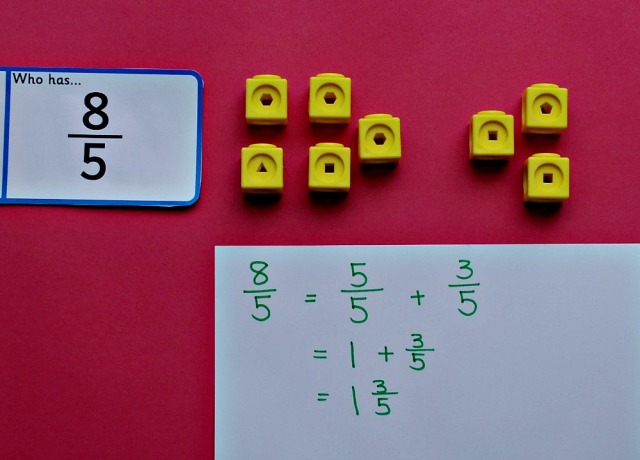 Improper Fractions. A simple explaination for children using Maths manipulatives