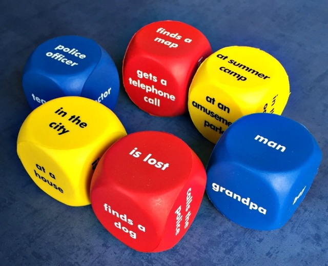 Learning Resources story starter cubes. Set of 6 different cubes with different words and phrases on to encourage creative writing