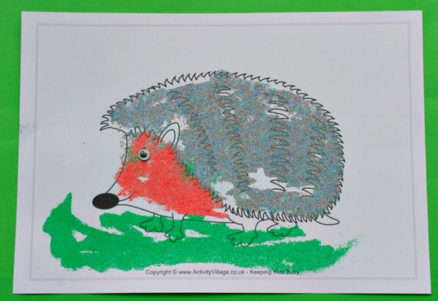 Multicoloured Sand Art Hedgehog. A fun and easy Autumn craft for children you love cut animals