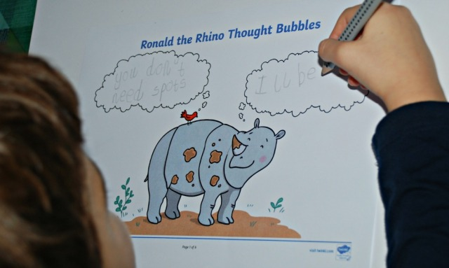 Ronald the Rhino Thought bubble activity from Twinkl is great for encouraging writing