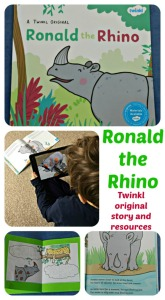 Ronald the Rhino.  Twinkl original story, resources and a stunning AR APP that turns the pictures into 3D