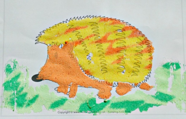 Autumn Craft. Sand Art Hedgehog made using a colouring page from Activity Village