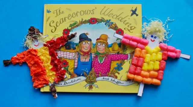 An easy crafting activity for children inspired by The Scarecrow's Wedding by Julia Donaldson and Axel Scheffer