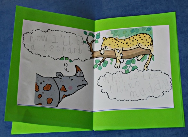 Turning the Ronald the Rhino thought bubble pages into our own mini book