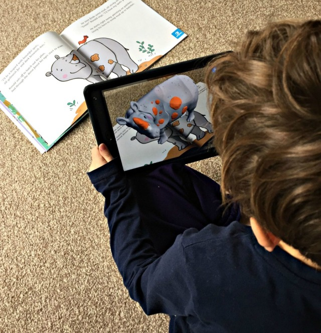 The Twinkl AP App makes the pictures in the Ronald the Rhino come to life in 3D