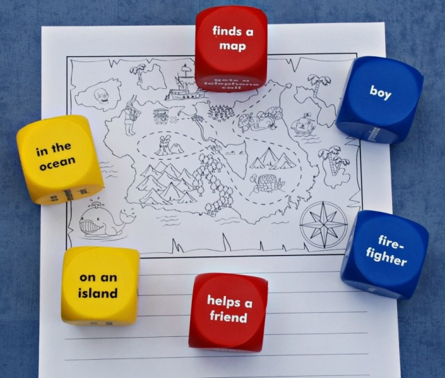 Using the Learning Resources story starter cubes together with themed writing pages from Activity Village