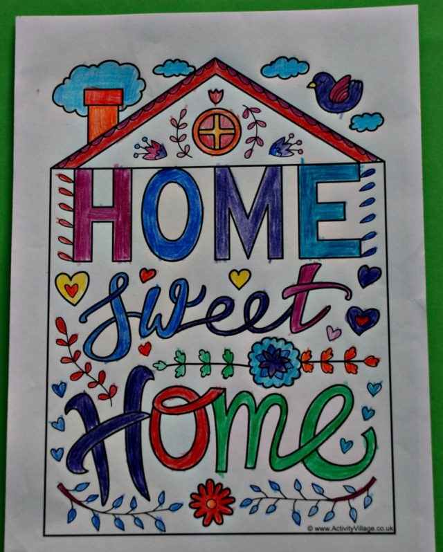 Activity Village Home Sweet Home Colouring Quote page