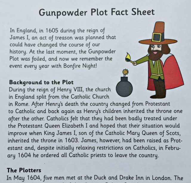 The Gunpowder Plot Fact Sheet from Activity Village. A 2 page summary of the main characters and events