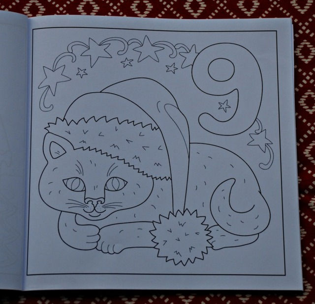 Advent Calendar Colouring Book for kids produced by Activity Village Day 9 the Christmas cat