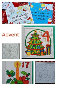 Advent Calendar Colouring Books.  Two different versions