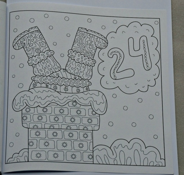 Advent Calendar Colouring Book for adults day 24 Santa stuck