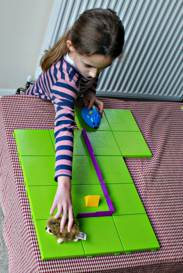 Code & Go Robot Mouse Activity Set using a soft toy to help map out the route