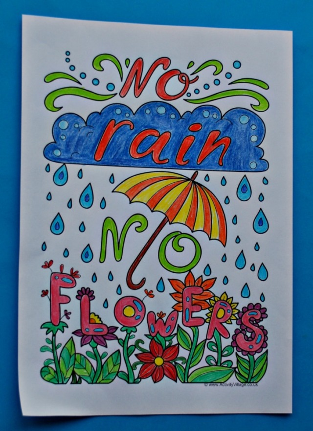 Colouring Quote page from Activity Village. No rain no Flowers