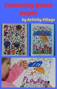 Colouring Quote pages from Activity Village.  Great to use with Creative Lettering projects