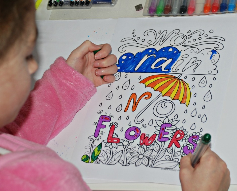 Colouring Quote Pages by Activity Village. No Rain No Flowers