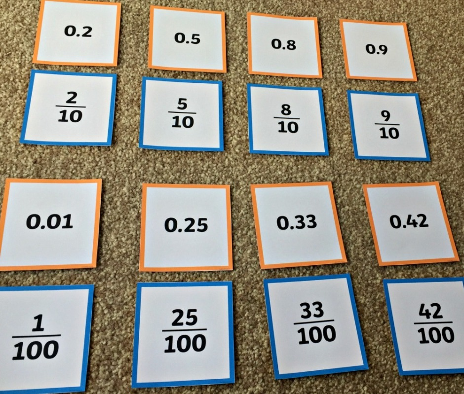 Decimal and fraction matching cards from Twinkl. Great for students to use when practicing converting between fractions and decimals