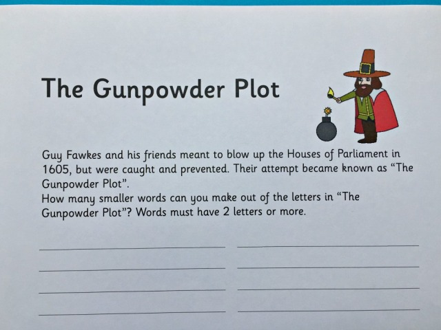 The Gunpowder Plot word creator page from Activity village. How many other word you can think of with the letters from gunpowder plot