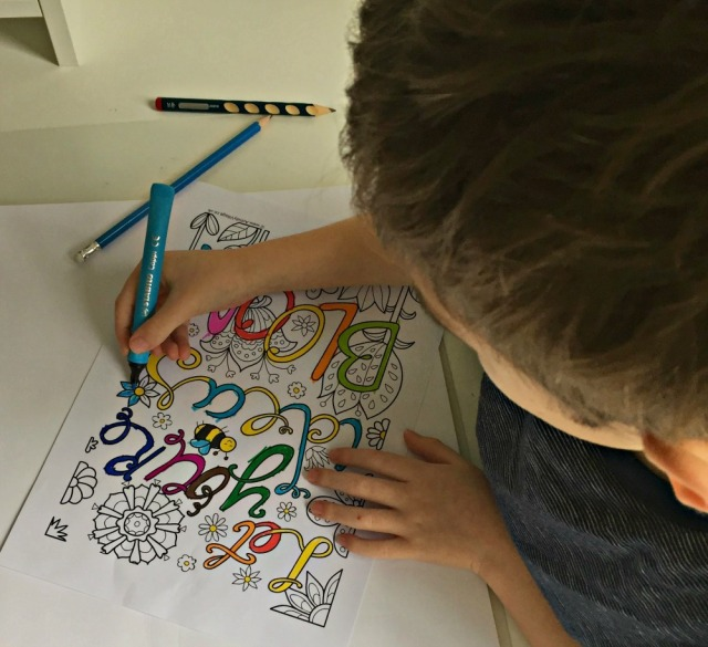 The colouring quote page Let You're Ideas Bloom from Activity Village