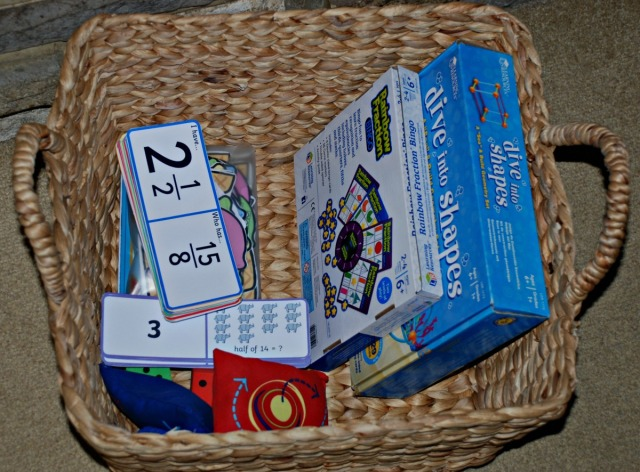 Maths Basket. A relzed way of encouraging more Maths practice at home