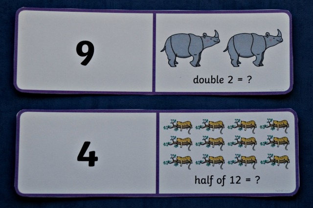 Ronald The Rhino Doubling and Halving Dominoe cards from Twinkl Resources