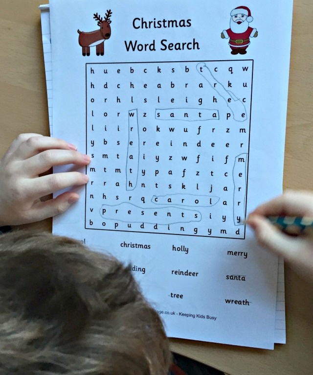 Christmas Word Search from Activity Village
