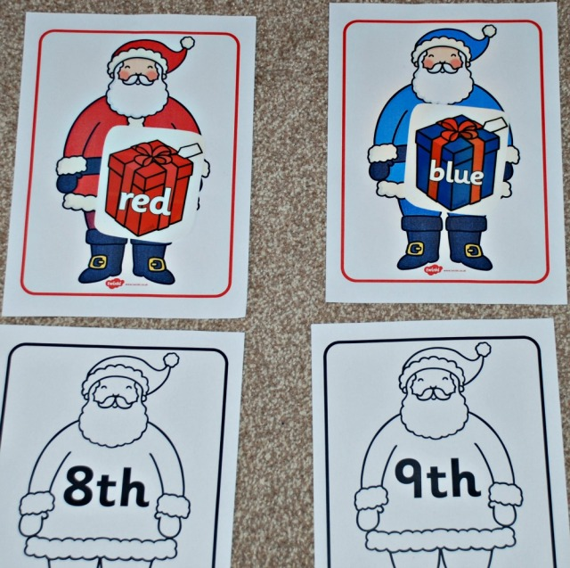 Colourful Santas with their coloured presents and the Ordinal Santas. All items from Twinkl