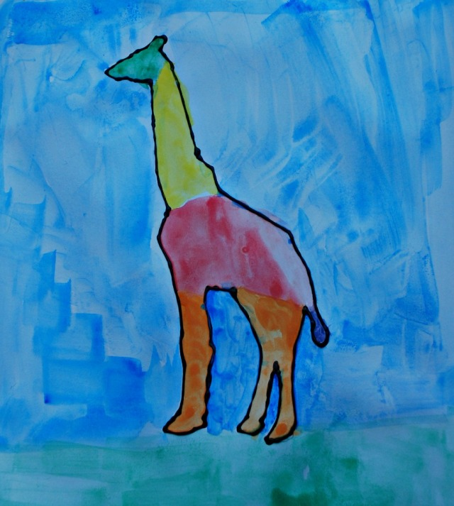 African animal painting activity for children. A Rainbow giraffe