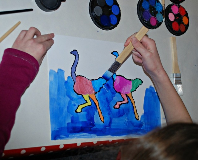 African animal painting activity for children using some free to download templates to get the shapes of the animals