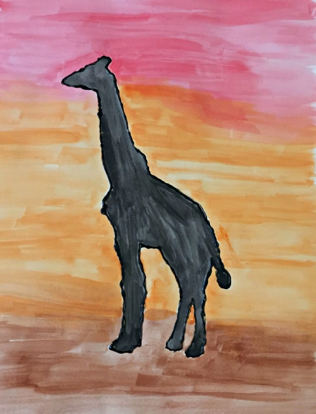 African animal painting activity for children. A giraffe in the African sun created using a free to download template from Twinkl Resources