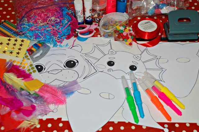 Crafting with kids. Use the printable masks from Activity Village and let the kids create