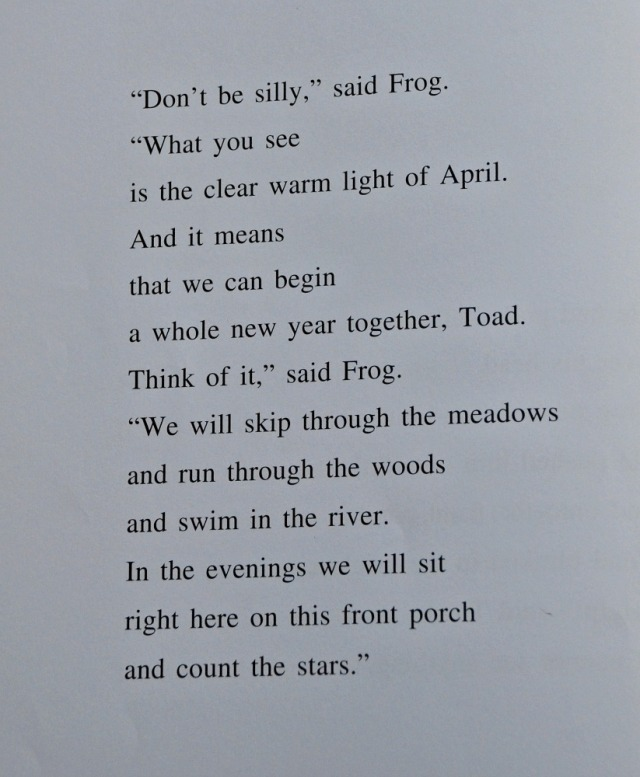 Frog and Toad are Friends, some text from the story Spring