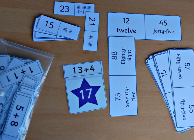 Maths Basket. Cards used from Twinkl include, Tally Mark dominoes, number bond to 100 Loop Cards and a star addition matching set