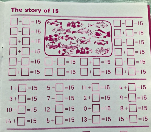 Schofield & Sims Number 3 book. Numbers from 11 to 20. The Story fo 15 page. addition and subtraction sums that make up 15